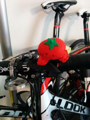 高級自転車にしがみつくトマトマン