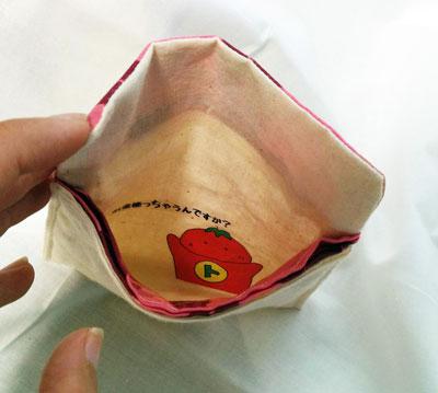 トマトマンが財布の内側になっちゃった写真