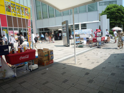 駅前の飲み物販売