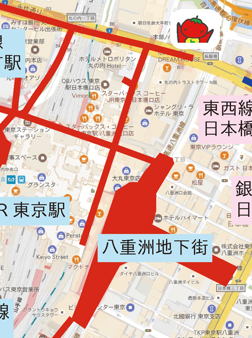 現在地を示す地図