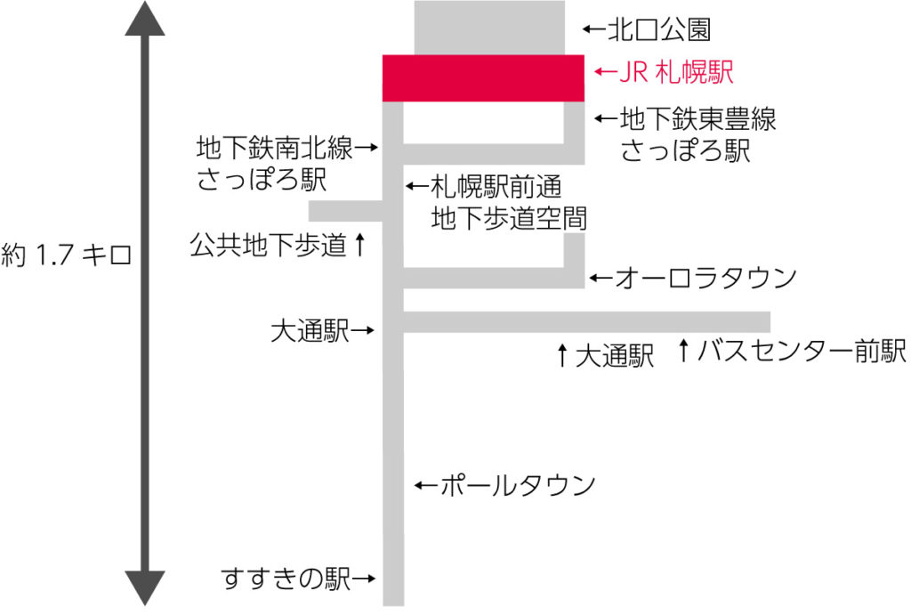 JR札幌駅を示した地図