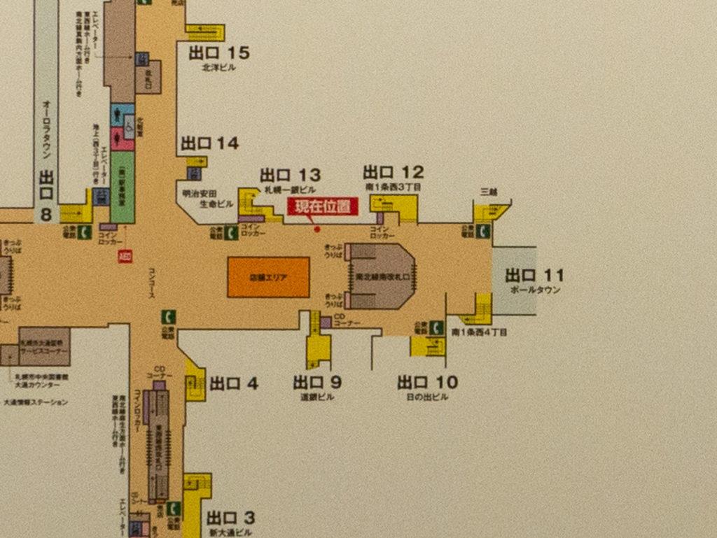 出口11付近を拡大した地図