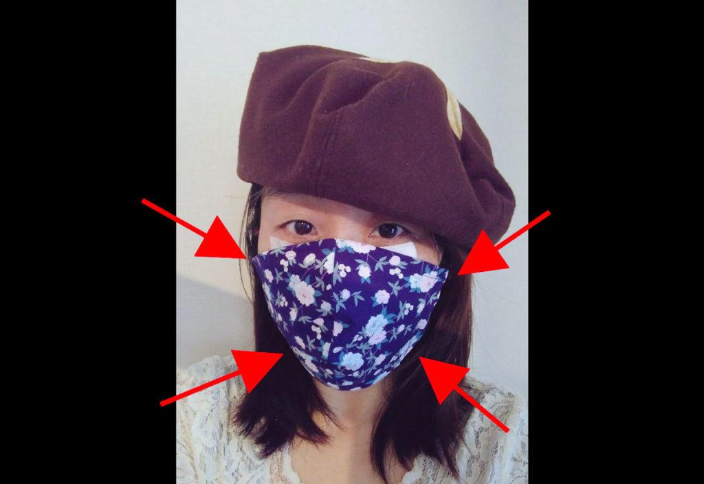 香港マスクがどれだけ頬にフィットしているか示した図