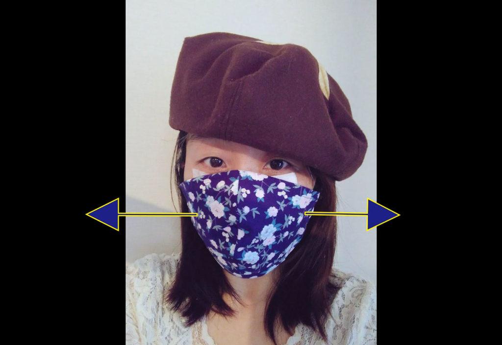 マスクのサイドから空気が出ることを示した図