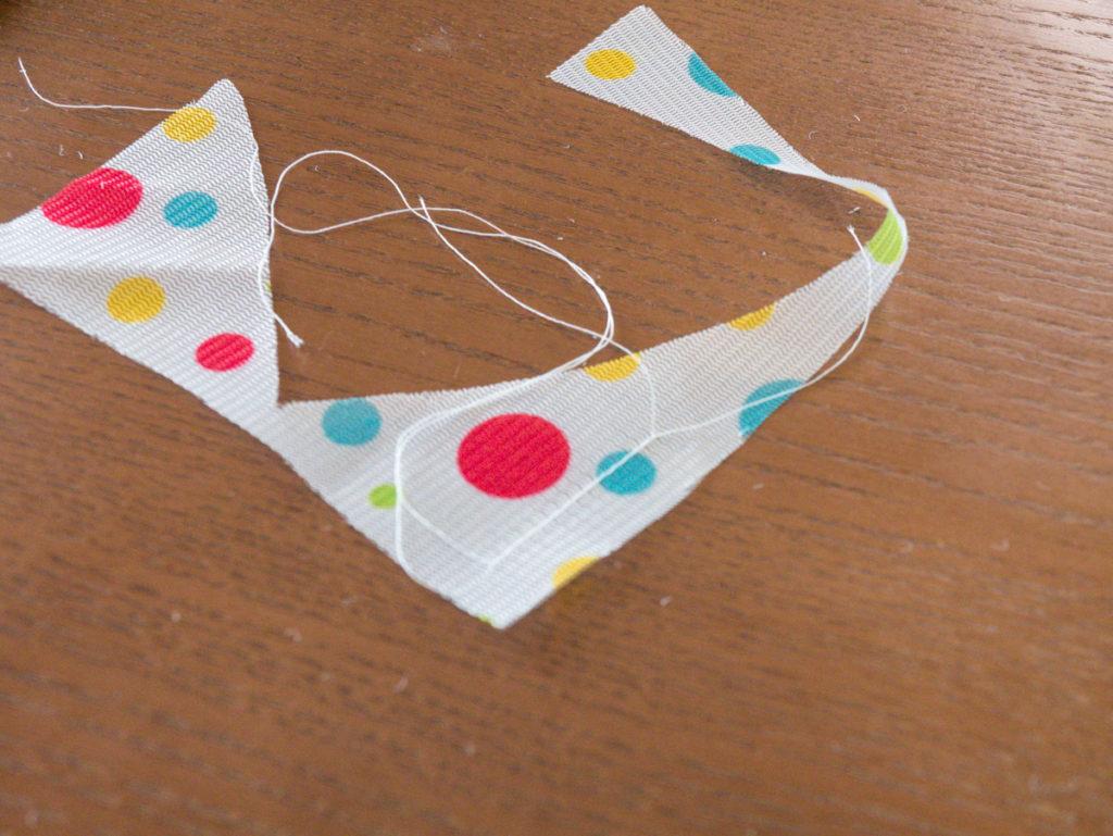 洗濯ネットをミシンで縫ったところ