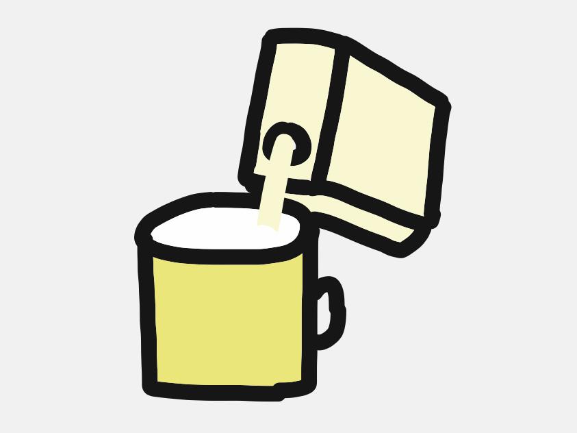 豆乳をコップに注ぐ