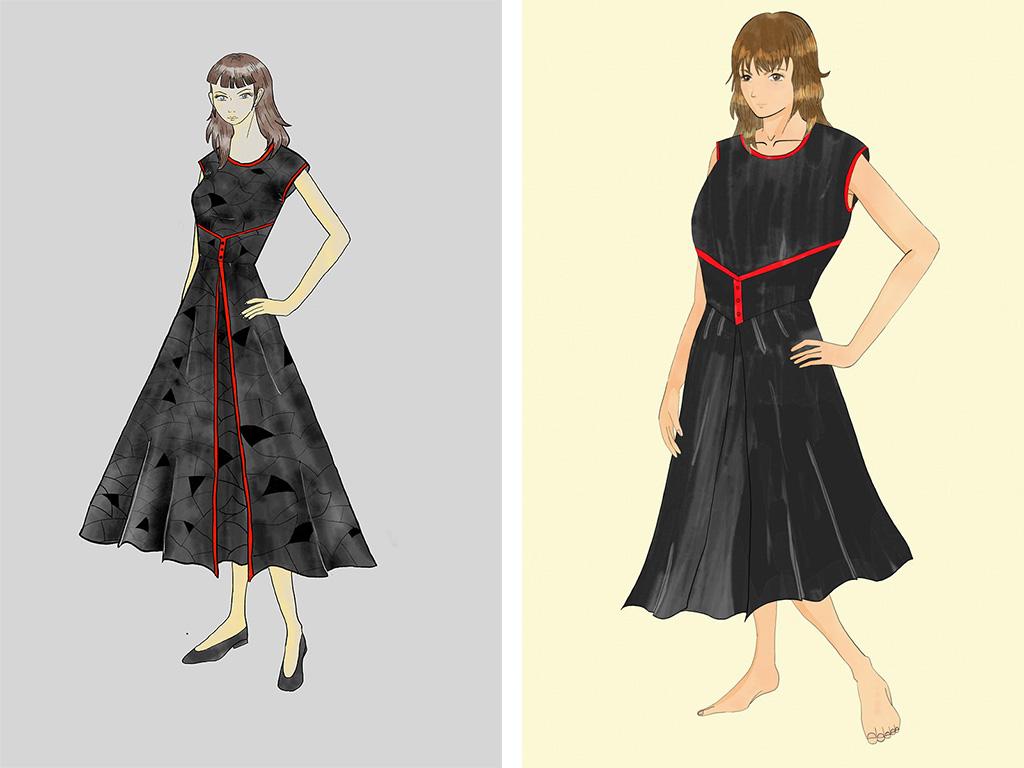 八頭身のデザイン画と現実のデザイン画